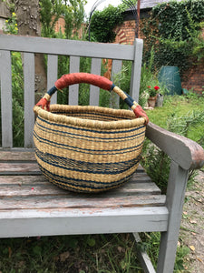 Bolgatanga Basket of Joy, natural and navy pattern, large size