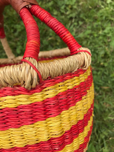 Bolgatanga Basket of Joy, red and yellow colours, striped pattern, small size