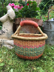 Bolgatanga Basket of Joy, multi coloured, striped patterns, small size