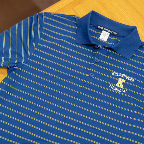 ES Sports Blue Wide Stripe Men's Polo