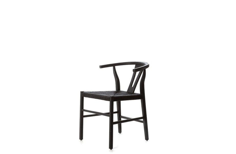 Black Teak & Rope Dining Chair - Black