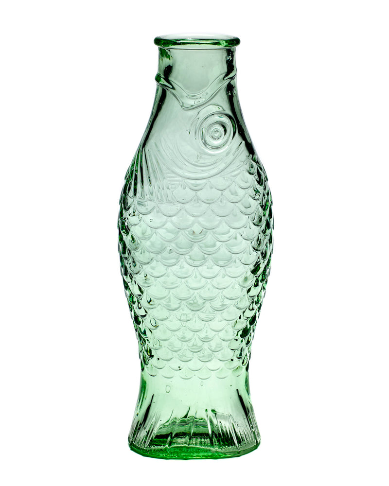Green Glass Fish Carafe Bottle - Large