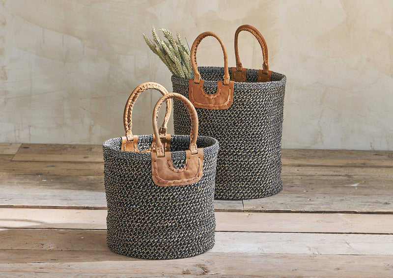 Coil & Leather Basket - Natural/Charcoal
