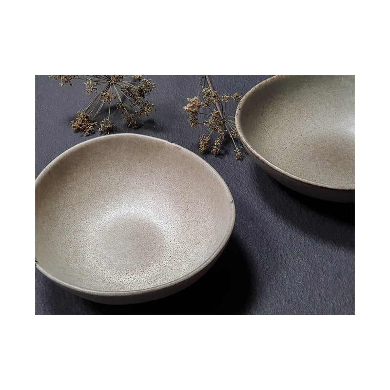 Mame Ceramic Breakfast Bowl - Oyster & Coffee