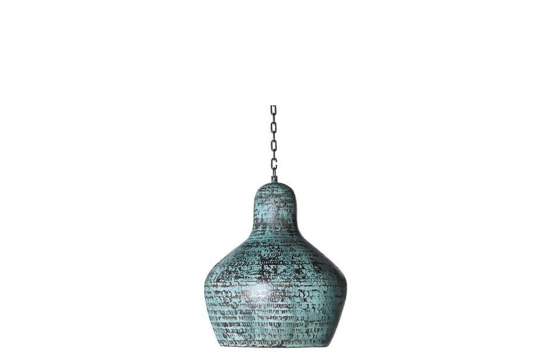 Green copper pendant hanging lamp interior