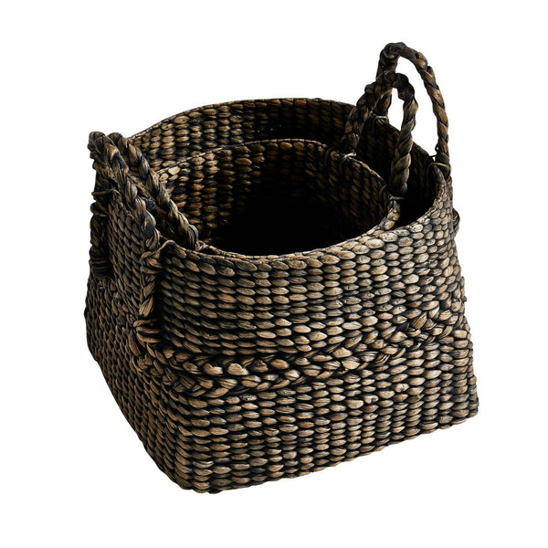Set of 2 Hyacinth Basket with Handles - Black or Natural