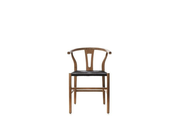 Natural Teak & Rope Dining Chair - Black
