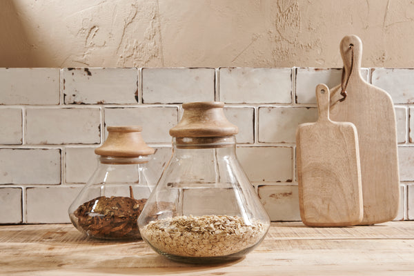 Deeka Glass & Mango Wood Storage Jars - Small & Large