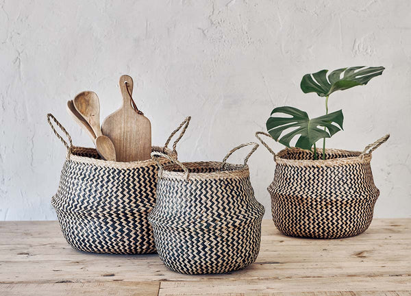 Seagrass Basket - Black & Natural Zigzag - Small, Medium & Large