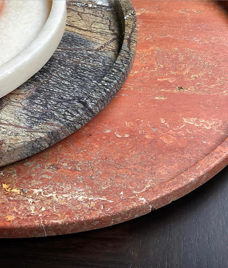 Travertine Red Marble Plate - Small & Medium