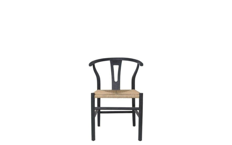 Black Teak & Rope Dining Chair - Nature