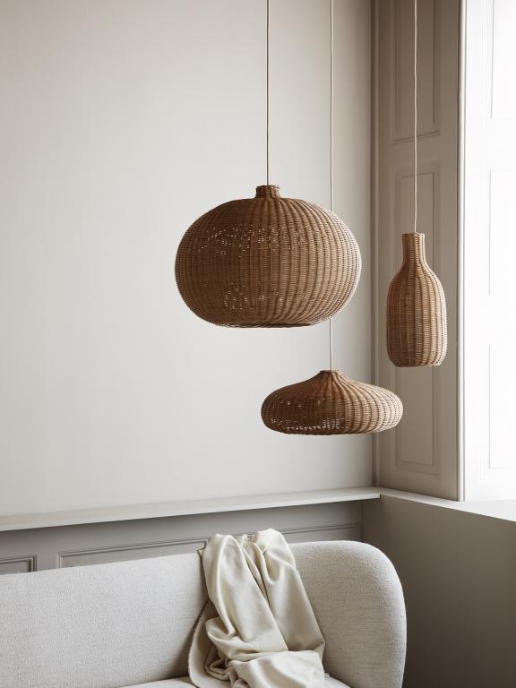 Natural Braided Rattan Lampshades - Low, Belly or Bottle