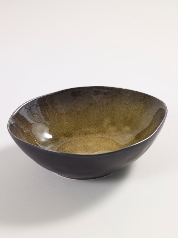 Green Crackle Earthenware Bowl