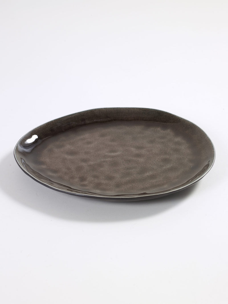 Pink Brown Earthenware Oval Plate