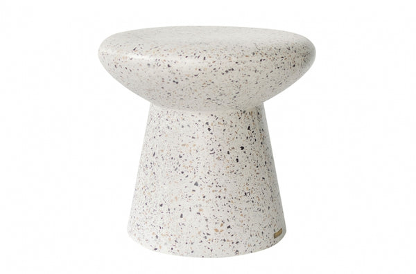 Mush Side Table Stool  - White Terrazzo
