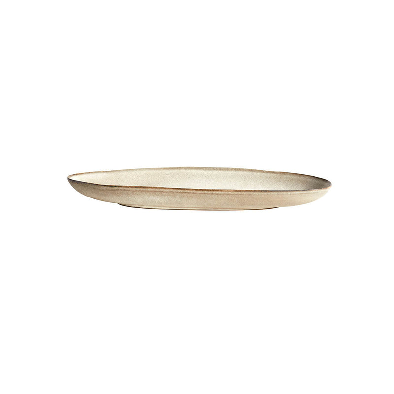 Mame Ceramic Long Tray - Oyster & Coffee