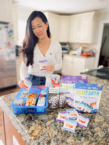 linh with linh with yumearth organic candy and lunch snack board