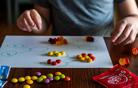 child using bite size candy for math problems