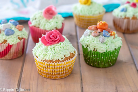 close up of cupcakes decorated with yumearth chewy candy