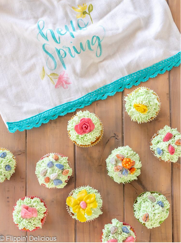 spring cupcakes decorated with yumearth organic candy