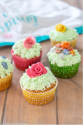 closeup of cupcakes decorated with yumearth candy