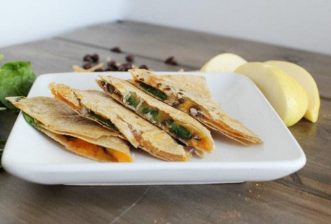 4 pieces of sweet potato and black beans quesadillas