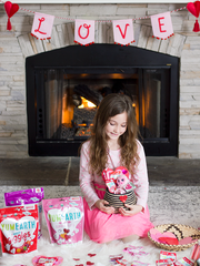 girl with her homemade valentines