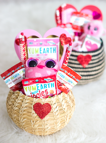 close up of yumearth valentines candy basket