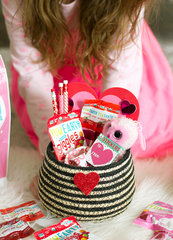 close up of yumearth valentines basket