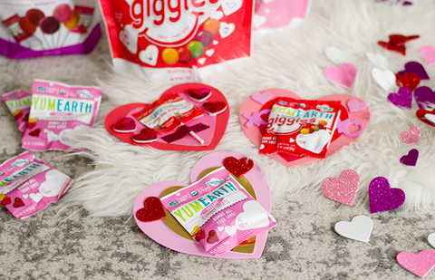 yumearth heart valentines with lollipops