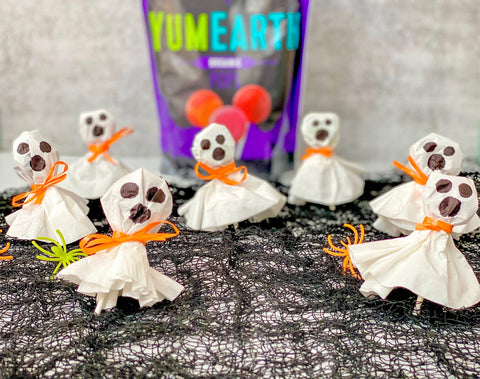 Coffee filter ghosts made with YumEarth organic lollipops