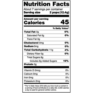 Yumearth-organic sour lollipops-nutrition fact label