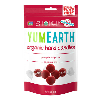 YumEarth-organic pomegranate hard candy-front of package