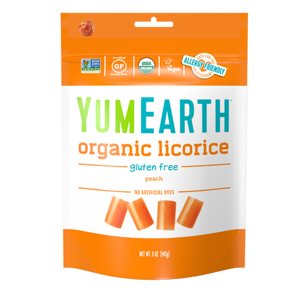 YumEarth-organic gluten free peach licorice-front of package