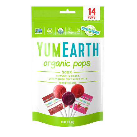 YumEarth-organic sour lollipops-front of package
