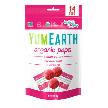 YumEarth-organic strawberry lollipops-front of package
