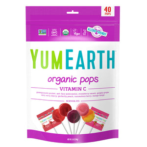 YumEarth-organic assorted flavors vitamin c lollipops-front of package