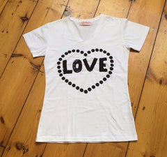 Love Yourself Handpaint & Embroidery T-shirt|Camiseta tejida a mano Ámate a ti mismo|快樂魔法T恤