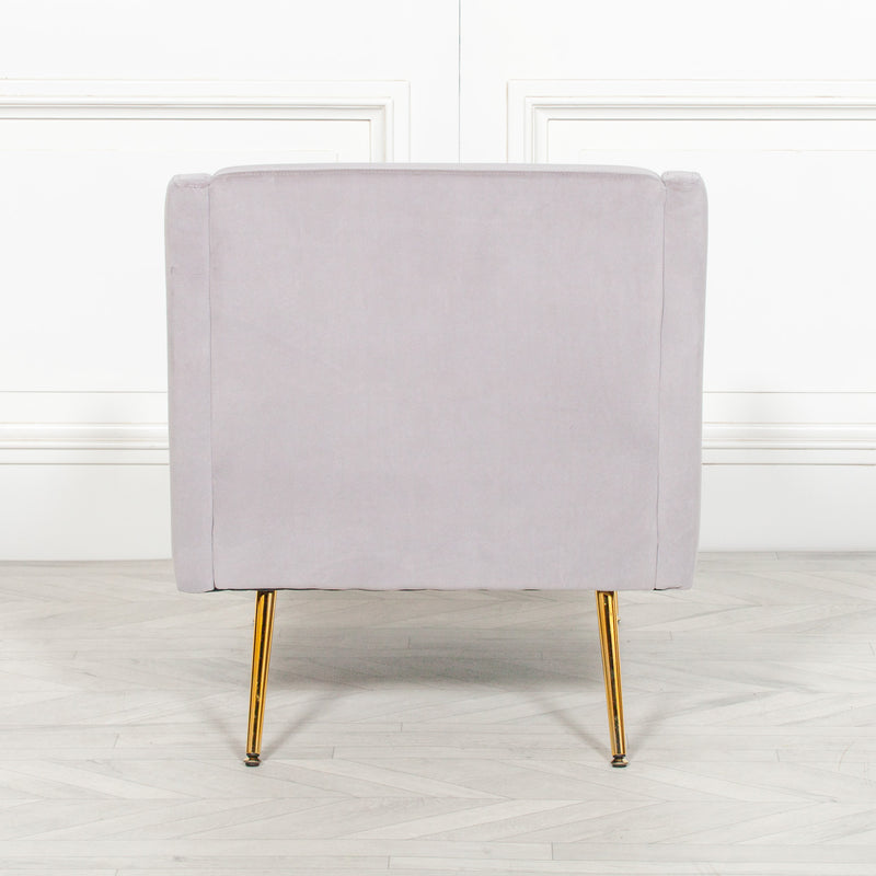 Light Grey Velvet Accent Armchair