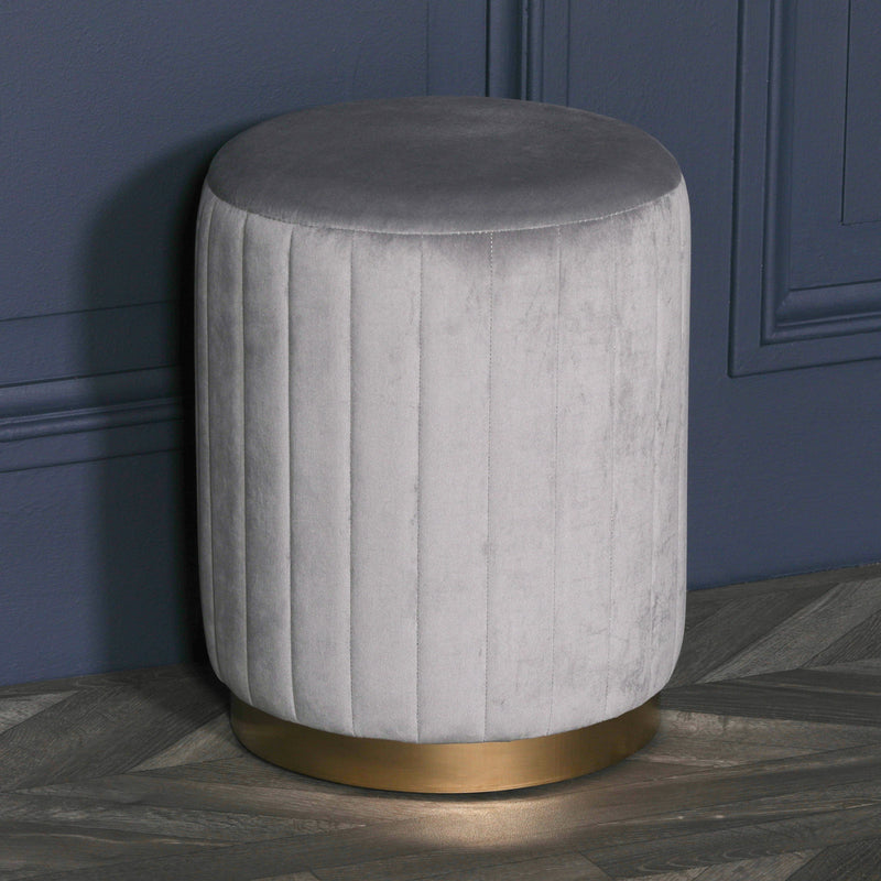 Grey velvet art deco footstool dressing table stool home furniture stores UK
