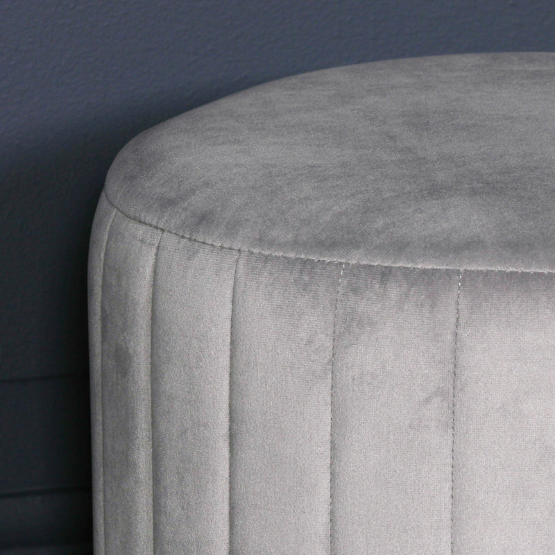 grey velvet dressing table stool