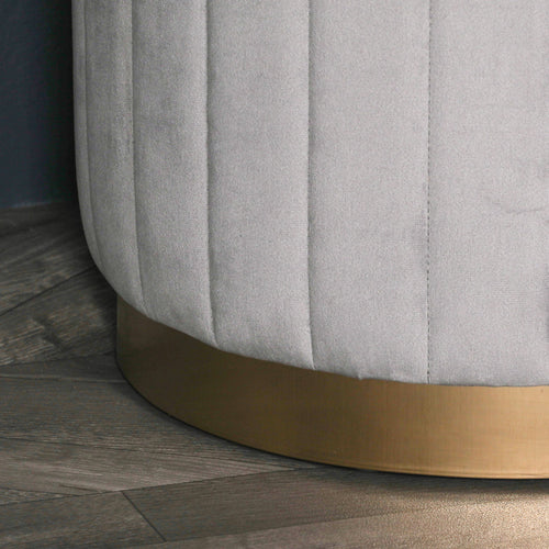 Panelled Grey Velvet Footstool