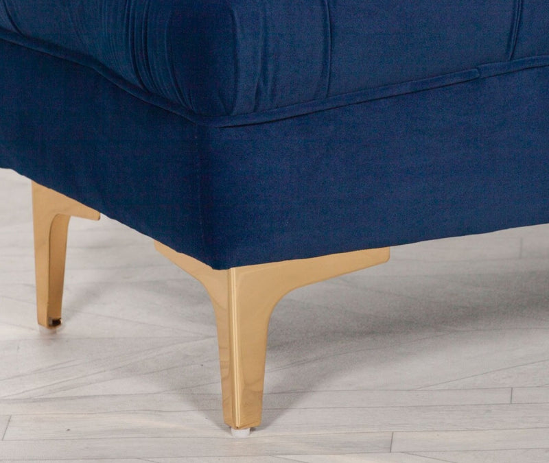 Blue Velvet Deep Button Bench