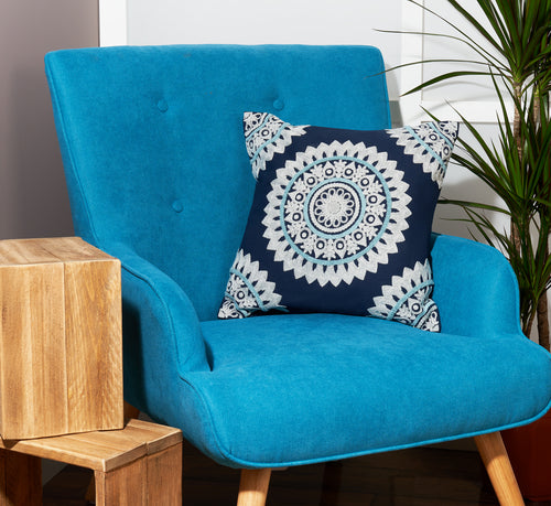 Embroidered cushion tufted cushion bohemian cushions Indian cushions ethnic decorative pillow square pillow case navy blue cushion cover 45 x 45 cm mandala cushion 18 x 18 cushion cover cotton morrocon decorations for home sofa throw pillow UK online