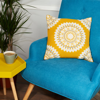 Mustard Yellow Embroidered Indian Cushion Cover