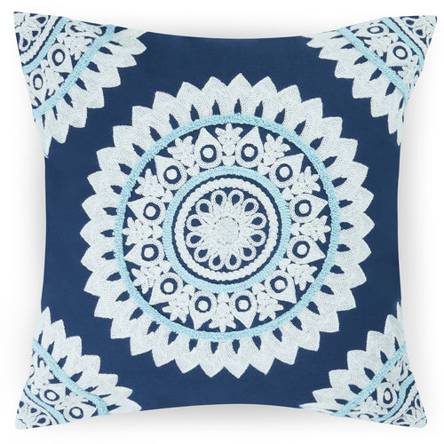 Embroidered cushion tufted cushion bohemian cushions Indian cushions ethnic decorative pillow square pillow case navy blue cushion cover 45 x 45 cm mandala cushion 18 x 18 cushion cover cotton morrocon decorations for home sofa throw pillow