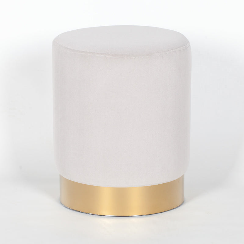 Light grey velvet round footstool with gold base