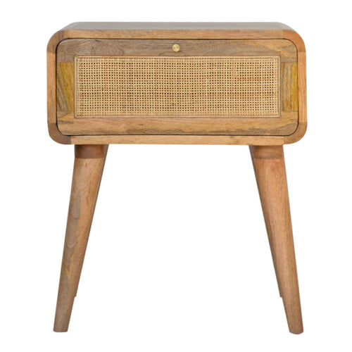 woven bedside table scandi bedroom furniture