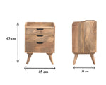 Handmade Three Drawer Bedside Table