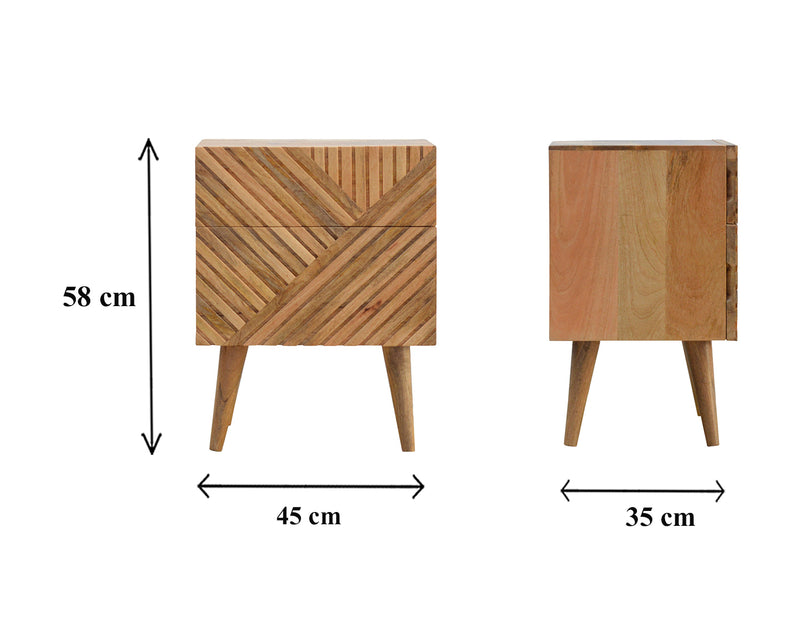 Line Pattern Solid Wood Bedside Table